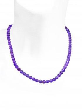 Amethyst Halskette ø 6 mm, L 43 cm zzgl. Verlängerungskettchen, 1 Stück