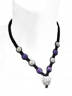Dirndl Halskette mit Strass-Keramik-Perlen, längenverstellbar