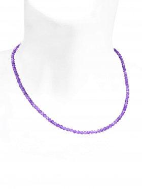 Amethyst Kugel facettiert ca. ø 3,4 mm, Halskette mit Karabinerverschluss aus 925 Silber, Länge ca. 44 cm
