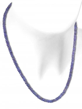 Tansanit aus Tansania, Kette mit 925 Silber Karabinerverschluß, Länge 44 cm