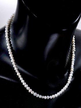 Perle barock, Kette mit 925 Silber Karabinerverschluß, Länge 43 cm, ø 4 - 5 mm
