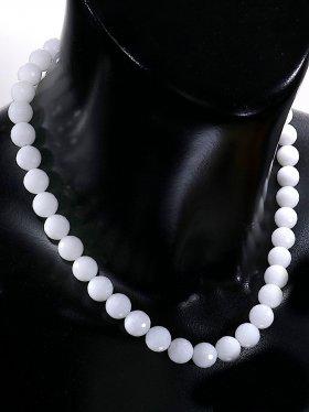 Schneequarz facettiert, Kette mit 925 Silber Karabinerverschluß, Länge 42 cm, ø 10 mm