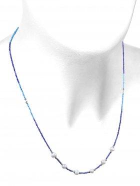 Lapis / Türkis mit Perle, Kette mit 925 Silber Karabinerverschluß, Länge 46+5 cm