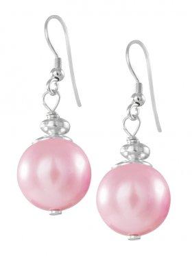 Muschelkernperle pink ø 14 mm, Ohrhänger in 925 Silber, 1 Paar