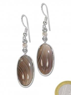 Achat-Bostwana Cabochon Ohrhänger oval mit Zirkonia, 925 Silber