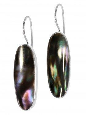 Perlmutt black rainbow aus den Philippinen, Ohrhänger in 925 Silber, 1 Paar