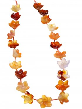 Karneol (Achat gef.), Blume ø 12-15 mm, Strang ca. 40 cm, 1 St.
