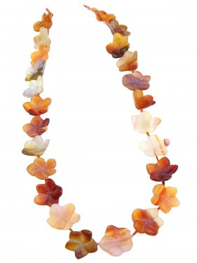 Karneol matt (Achat gef.), Blume ø 15-16 mm, Strang ca. 40 cm, 1 St.