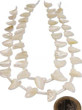 Perlmutt weiß aus den Philippinen, Blatt 15/10 mm, Strang Länge 39 cm