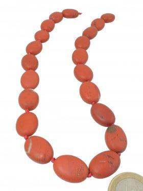 Jaspis rot aus Südafrika, Olive matt 21/16 mm, Strang Länge ca. 41 cm, Unikat