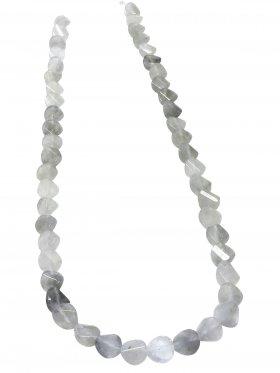 Cloudy Quarz aus Brasilien, Scheibe facettiert, Strang ca. 40 cm, 1 St.