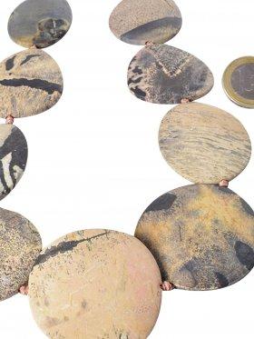 Dendritenmarmor matt, Oval und Rund, Strang ca. 40 cm, Unikat