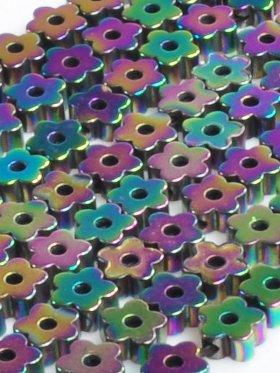 Hämatit rek. bedampft mit Titanoxid, Blume - Rainbow