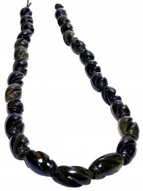 Goldobsidian, Olive gezwirbelt, Strang ca. 39 cm, 1 St.