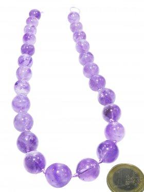 Lavendel - Amethyst, Kugel ø 13,7 mm, Strang ca. 44 cm, Unikat