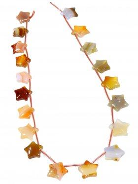 Karneol (Achat gef.), Stern ø 15 mm, Strang ca. 40 cm, 1 St.