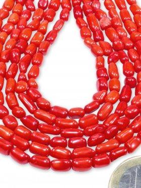 Koralle gefärbt aus China, Röhrchen Strang 7 / 4 mm