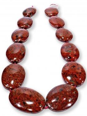 Brekzien - Jaspis aus Südafrika, ovale Scheiben Strang, Unikat
