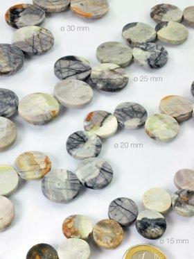 Picasso-Marmor, Münzform in verschiedenen Größen, Strang