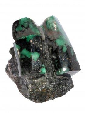 Smaragd anpoliert aus Brasilien, Deko mit gesägter Standfläche, Unikat