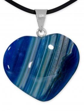 Achat blau Herz Anhänger mit Silberöse aus Brasilien