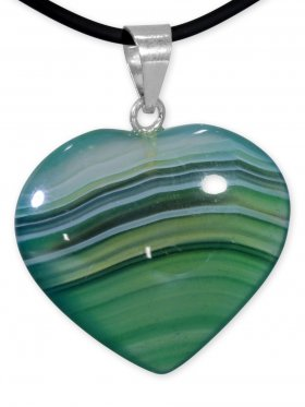 Achat grün Herz Anhänger mit Silberöse aus Brasilien