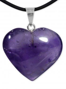 Amethyst Herz Anhänger mit Silberöse aus Brasilien