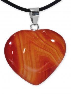 Achat orange Herz Anhänger mit Silberöse aus Brasilien