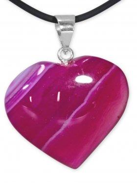 Achat pink Herz Anhänger mit Silberöse aus Brasilien