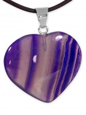 Achat violett Herz Anhänger mit Silberöse aus Brasilien