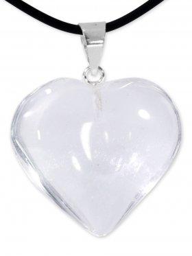Bergkristall Herz Anhänger mit Silberöse aus Brasilien