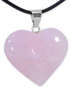 Rosenquarz Herz Anhänger mit Silberöse aus Brasilien