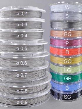 Stahlseil Standard, Spule 100 m, ø 0,2 - 0,9 mm, div. Farben