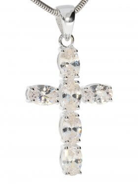 Kreuz Anhänger, verschiedene facettierte Edelsteine, Silber