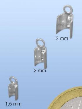 Endteile zum Quetschen, für Leder, 925 Silber