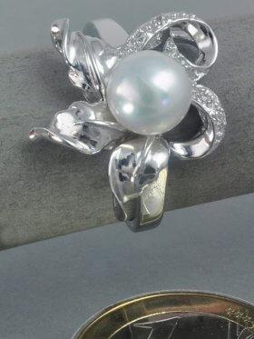 Süsswasserperle weiß, Zirkonia (CZ), Ring, rhodiniert - 53
