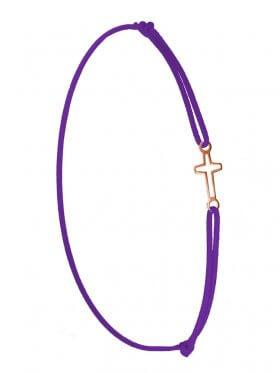 Symbolarmband Kreuz mini an Elastikband, lila, Silber rosévergoldet