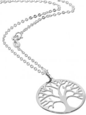 Baum des Lebens (small ø 15) mit Ankerkette in verschiedenen Längen, 925 Silber, rhodiniert, vergoldet, rosévergoldet