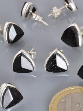 Turmalin schwarz, Triangel, Ohrstecker in versch. Größen