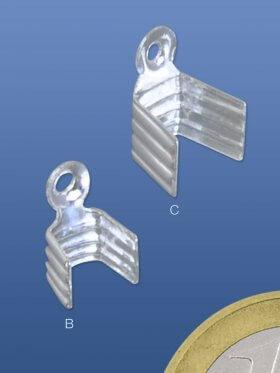 Endkappen zum Quetschen, für flache Bänder, verschiedene Größen. - Band 3 mm