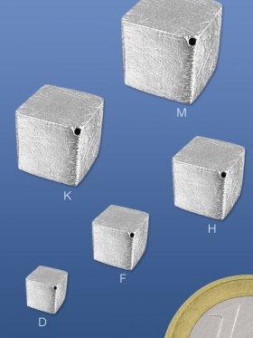 Würfel gebürstet, diagonal gebohrt, 5 / 6 / 8 / 10 / 12 / 14 mm - 6 mm (8 St.)