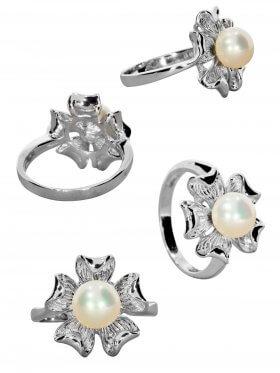 Süsswasserperle weiß, Ring, Silber rhodiniert, verschiedene Größen, 1 St.