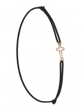 Symbolarmband Kreuz mini an Elastikband, schwarz, Silber rosévergoldet