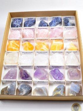 Mineralien-Box, verschiedene Rohsteine