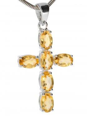 Citrin, Kreuz Anhänger in 925 Silber gefasst mit Öse, 1 St.