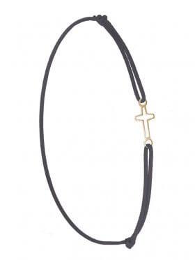 Symbolarmband Kreuz mini an Elastikband, dunkelgrau, Silber vergoldet