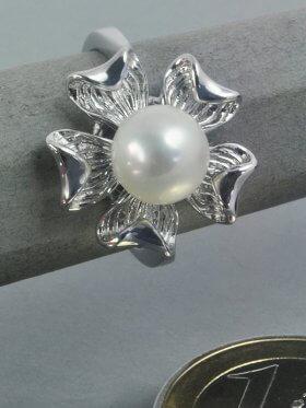 Süsswasserperle weiß, Ring, 925 Silber rhodiniert - 54