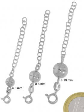 Magnetverschluss Kugel mit Verlängerungskettchen, 925 rhodiniert, verschiedene Größen