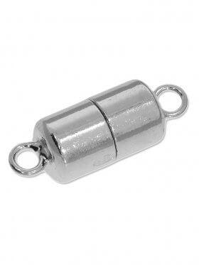 Magnetverschluss Zylinder in verschiedenen Größen, 925 Silber rhodiniert