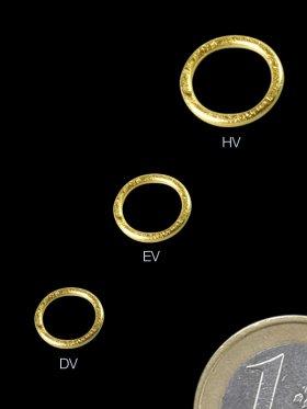 Ring geschlossen gebürstet, ø 9 / 1,5 mm, 925 Silber vergoldet
